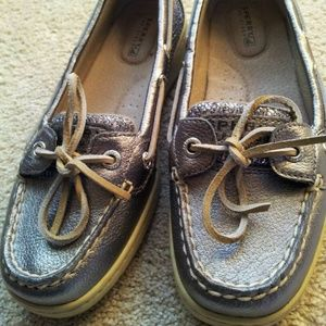 Pewter & Sequin Sperry Loafers